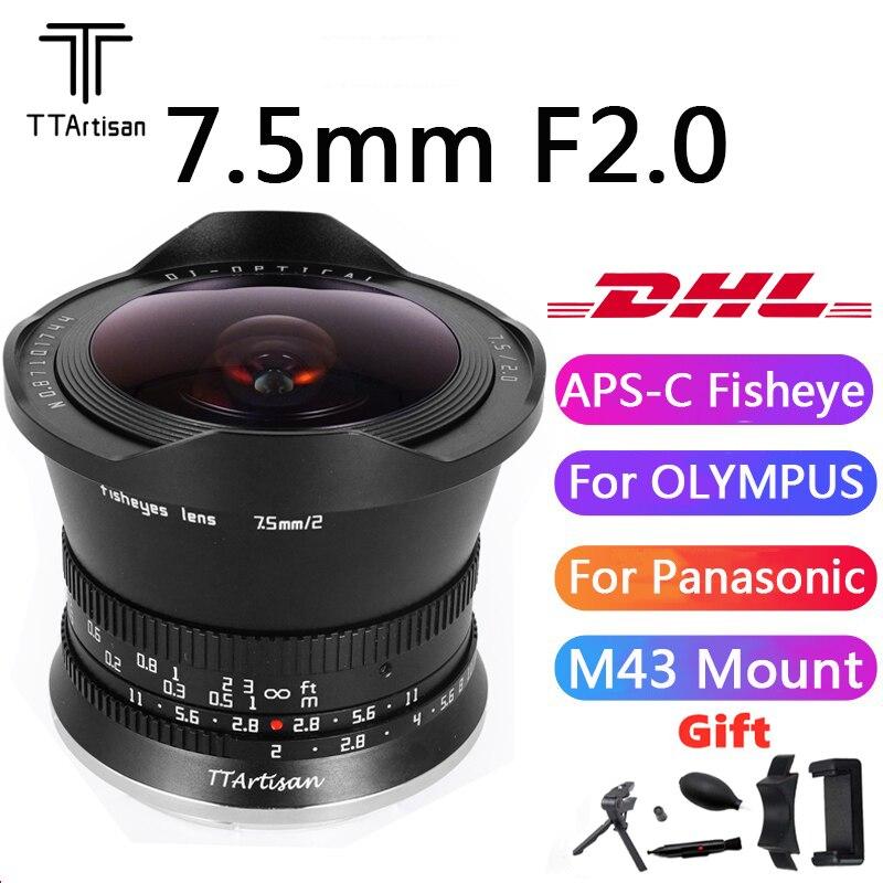 TTArtisan 7.5 مللي متر F2 APS-C فيش عدسة التركيز اليدوي ل M43 جبل أوليمبوس باناسونيك كاميرا دقيقة G5 GX7 GX8 E-M5 EPM2 PEN-F GM1