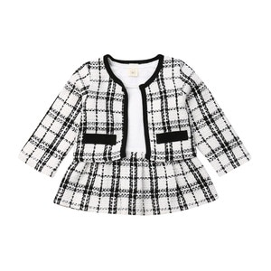 Baby Girls Clothes Sets Long Sleeve Plaid Coat Tops+Dress 2Pcs Warm Outfit