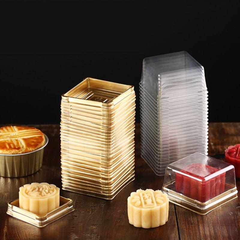 50 Pcs Mini Square Moon Cake Container Wedding Party Favor Boxes 80g Mooncake