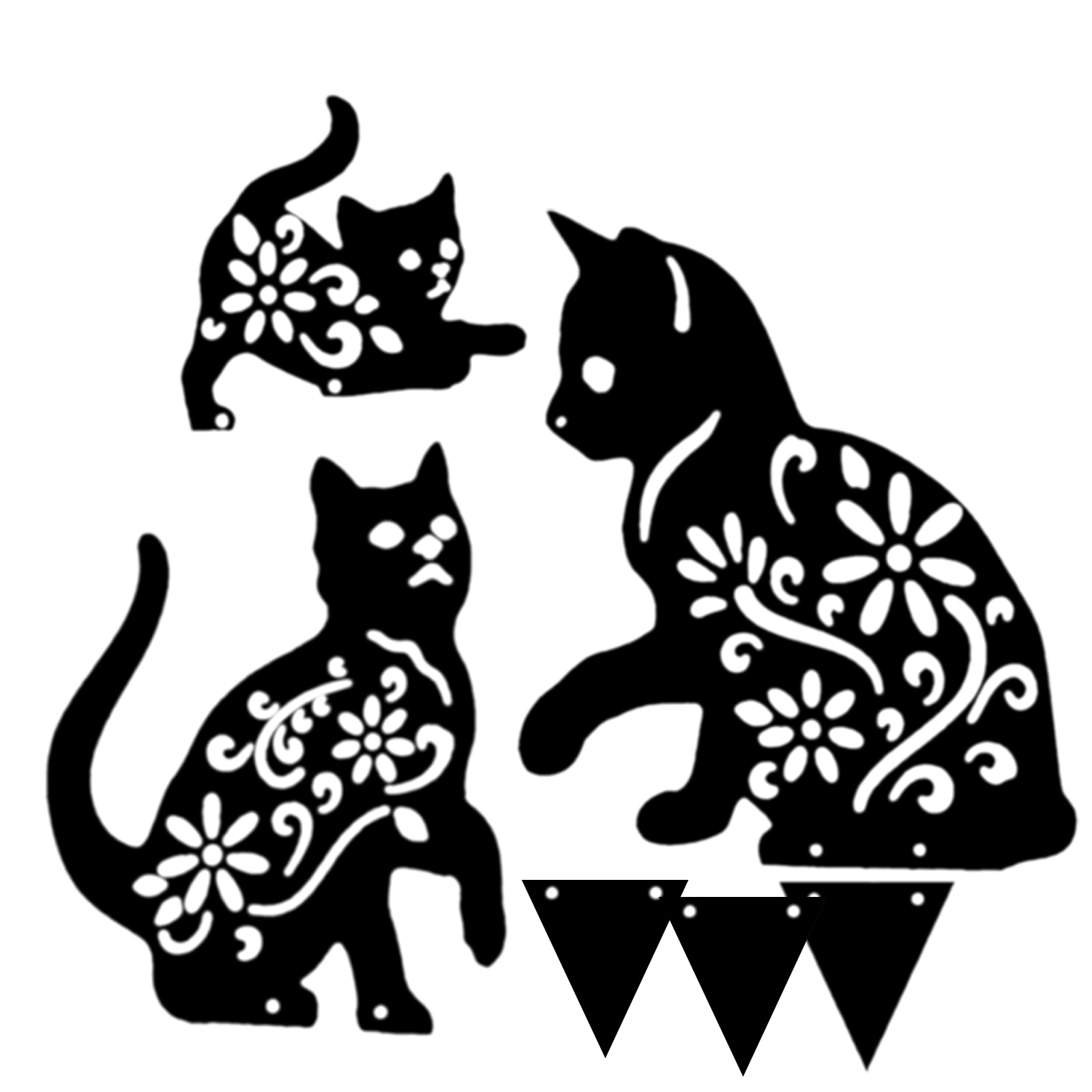 Bahçe demir kedi bahçe dekorasyon Metal kedi bahçe sanat kazık siyah kedi siluet bahçe dekorasyonu itme kemirgenler kuşlar tavşanlar
