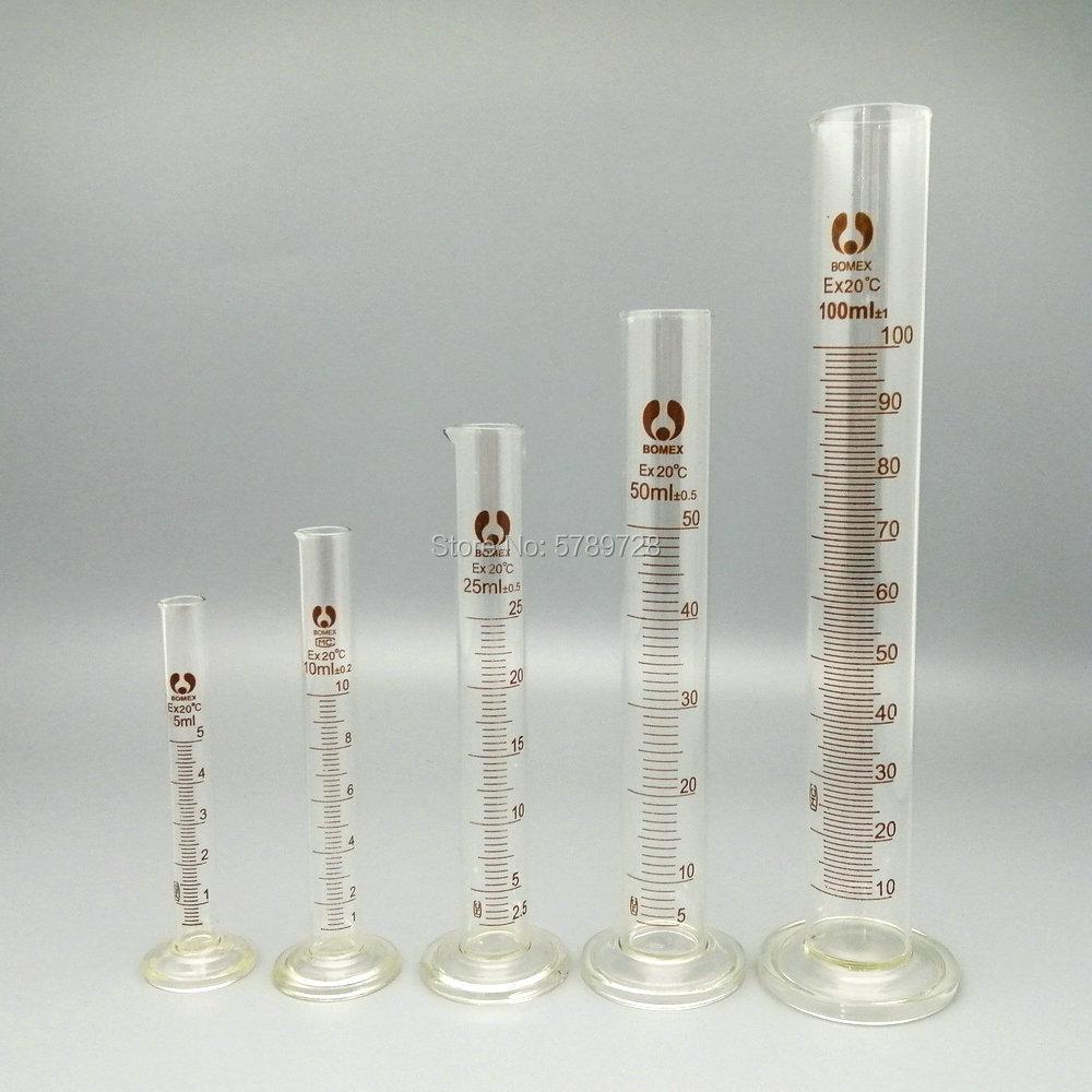 1set (5ml, 10ml, 25ml, 50ml, 100ml) Glass Graduated Measuring Cylinder Chemistry Laboratory Supplies