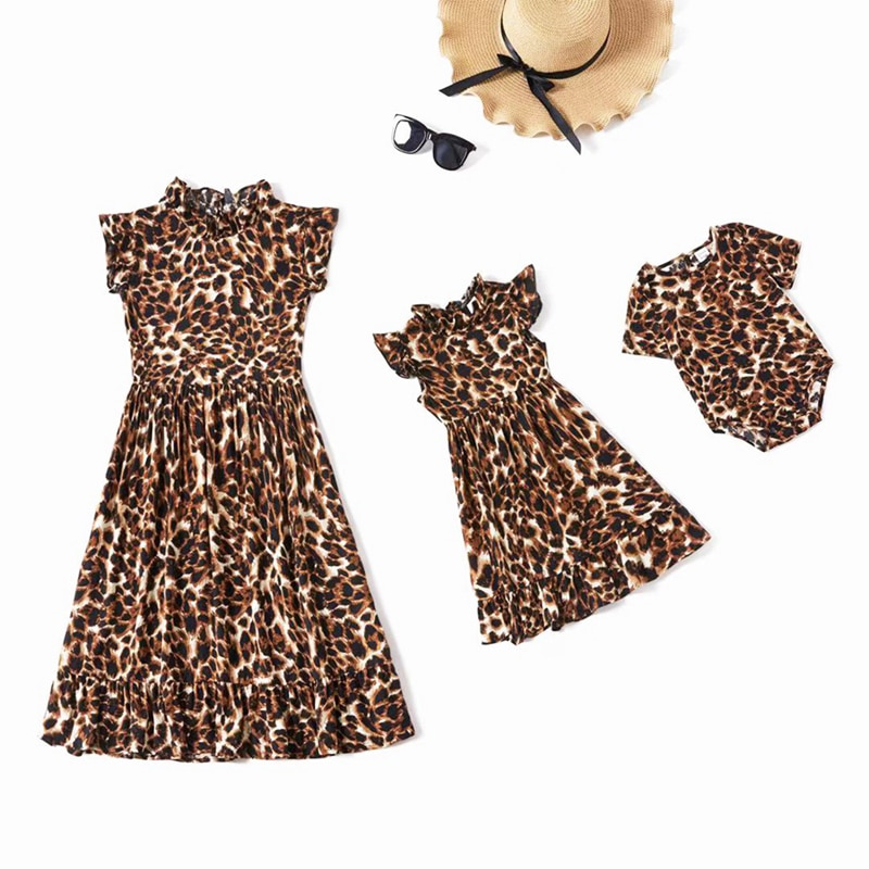 Leopard Pattern Parent-Child Dress Girl Mother Baby Summer Dress And Baby Romper Sleeveless Mom And