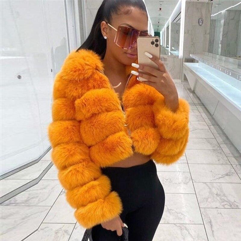 موضة برتقالي اللون ريال فوكس الفراء سترة قصيرة مع التلبيب طوق الطبيعية الجلد كله جلد طبيعي الثعلب الفراء معطف امرأة أبلى