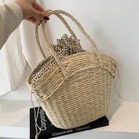 high capacity handmade totes for women 2021 summer fashion luxury brand trendy shoulder handbags picnic bucket purses