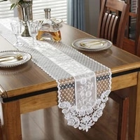 embroidered table runner silk lace table cover for wedding banquet decor multi size kitchen dining table runner camino de mesa