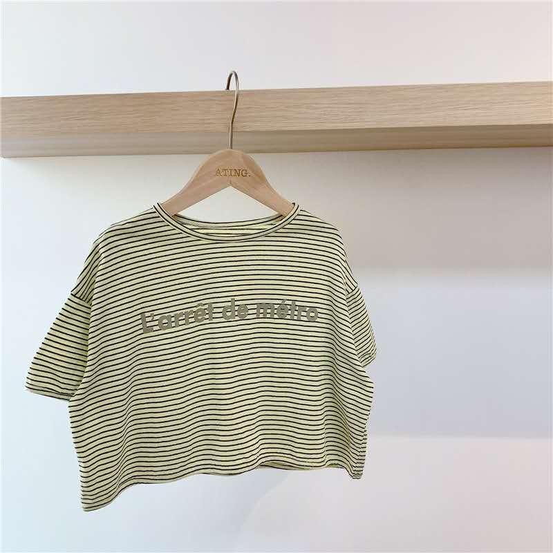 Productos de novedad de verano 2020 ropa para niños Camiseta de manga corta con estampado rayado versión coreana de verano para niñas