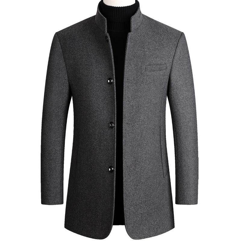 Woolen Coat Men Cotton Velvet Thick Wool Coat Autumn Winter Casual Long Blend Coat Gray Long Sleeve Overcoat Male Plus Size 3xl