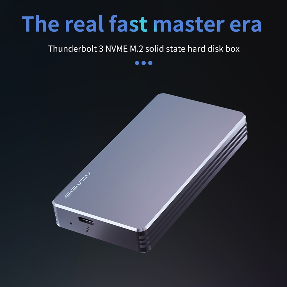 Thunderbolt 3 NVME M.2 SSD Case External Hard Drive Aluminum Alloy HDD Docking Station NVNE Enclosure for Laptop Desktop