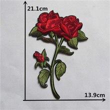 Adhésif fleur de rose de dessin animé   Patchs de broderie, accessoires pour vêtements, patch 1 pièce, vente chaude, livraison gratuite