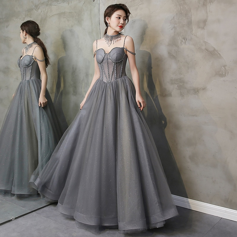 Sparkling Gray Evening Dresses Soft Tulle with Sequins Floor Length Prom Gowns