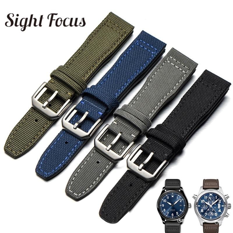 20mm Watch Straps for IWC Pilot Portuguese Portofino Nylon Canvas Watch Bands Green Blue Gray Black