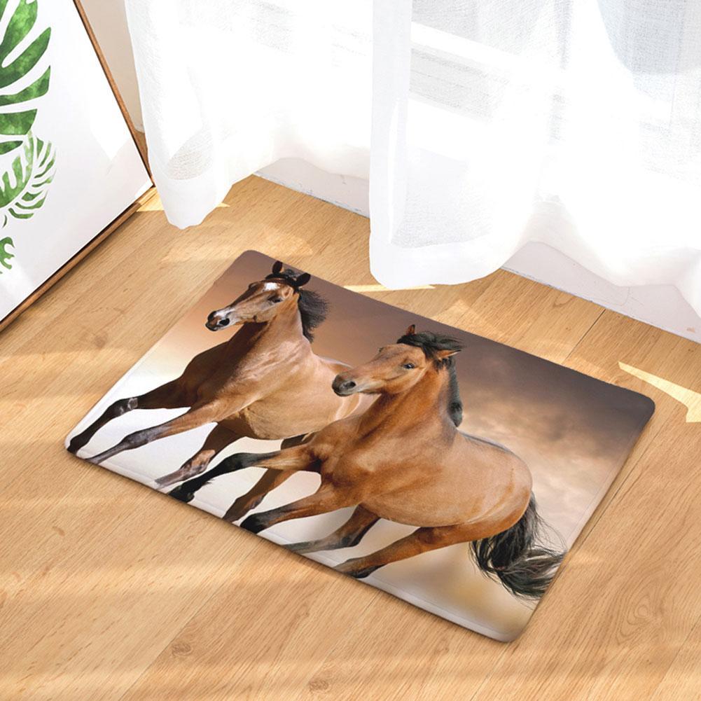 Animal Horse estilo alfombra suelo alfombra para sala de estar Pentium caballo patrón franela alfombra antideslizante felpudo hogar Decoración