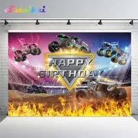 cartoon truck birthday party backdrop racing cars arena burning flame photography background for baby boy photo booth decoration