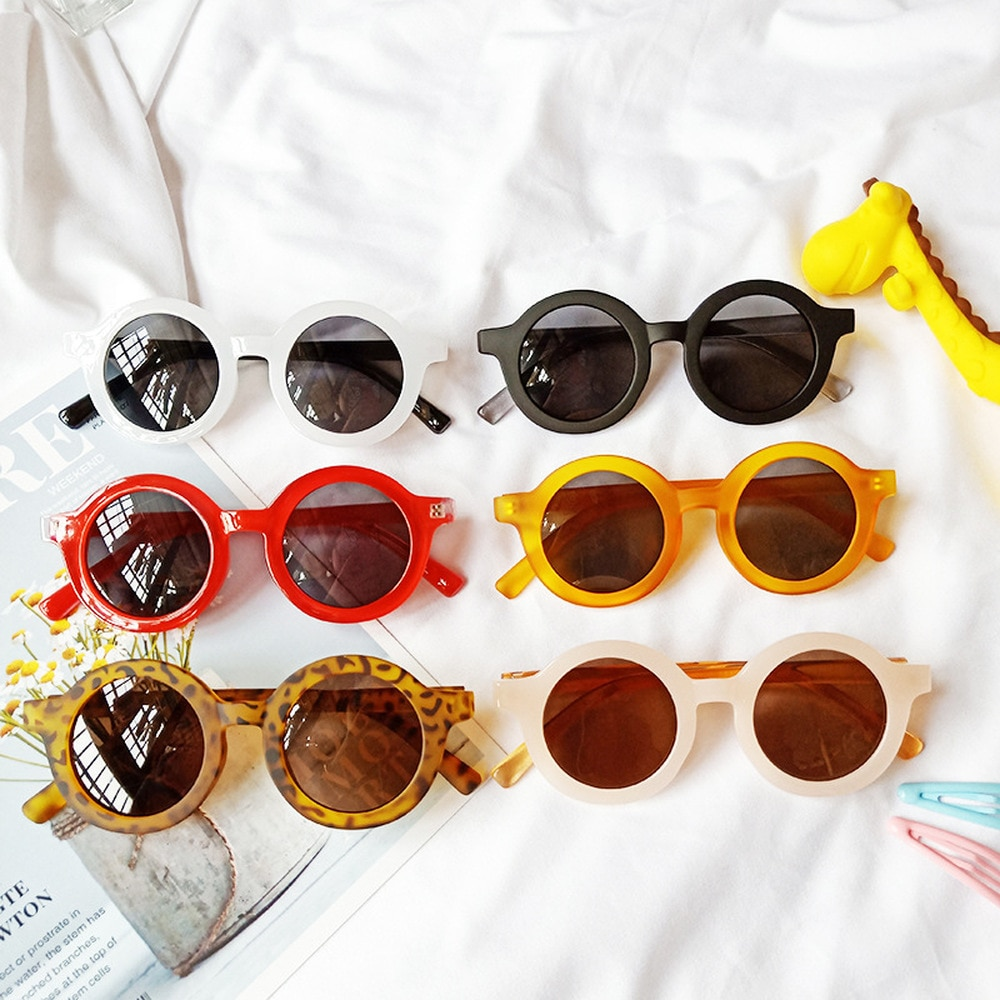 Small Frame Retro Children's Sunglasses Baby Round Lovely Kids Glasses Boys Girls Anti Blue Light Go