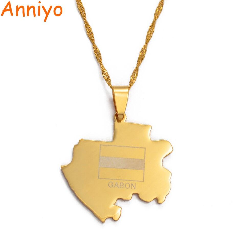 Anniyo Gabun Karte Halsketten für Frauen Gold Farbe Gabonese Anhänger Kette Schmuck Afrika Land Karte #010721