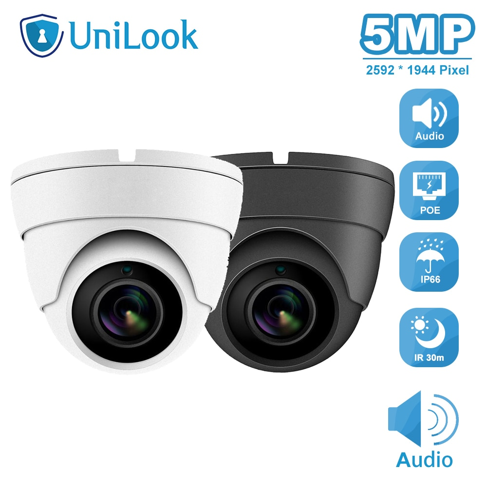 UniLook 5MP Mini Dome POE IP Camera Built in Microphone Outdoor Security CCTV Camera IR 30m IP66 Hivision Compatible ONVIF H.265 5mp bullet poe ip camera built in microphone sd card slot cctv security cctv camera ip66 night vision h 265 onvif p2p