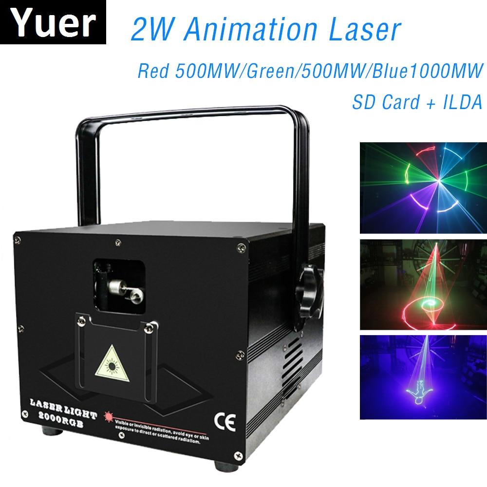 جهاز عرض ليزر للرسوم المتحركة DMX RGB 3 في 1 ، 2000mw 2W ، بطاقة ILDA SD ، ضوء المرحلة ، ديسكو ليزر ، نادي ضوء ، حفلة ليزر