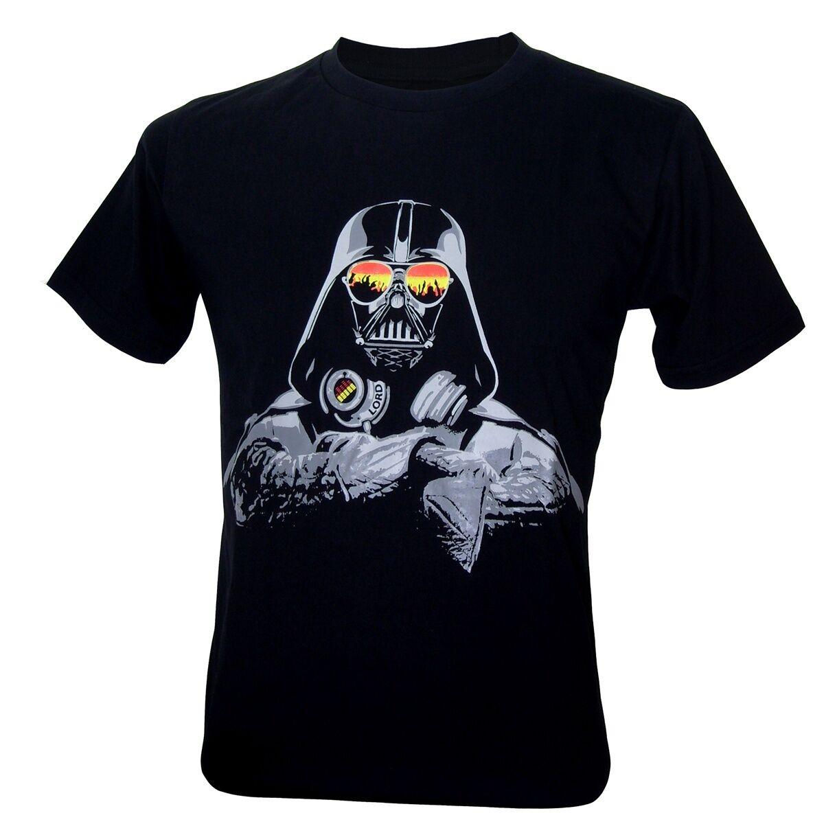 T Camiseta STAR WARS DJ DARTH VADER rapero HIP HOP divertido música tecno NWT, M, L, XL, 2019 nuevo 100% camisetas de algodón de los hombres