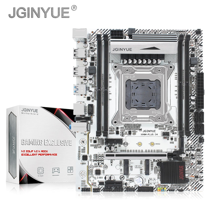 JGINYUE-اللوحة الأم X99 ، مكون كمبيوتر ، متوافق مع معالجات Xeon E5 V3 و V4 ، مقبس LGA 2011-3 ، ذاكرة وصول عشوائي DDR4 ، SATA ، pci-e ، M.2 ، NVME ، X99M PLUS ، D4