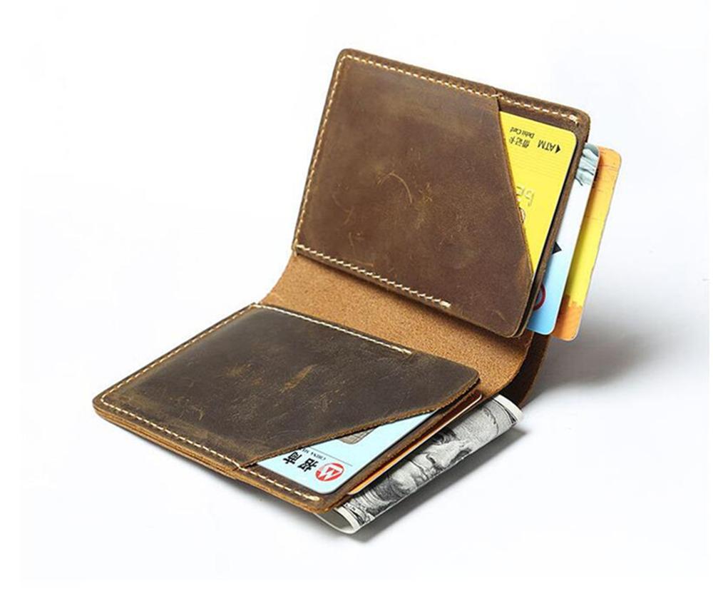Минималистичный кошелек, мужской тонкий маленький тонкий кошелек из кожи Crazy Horse, мужской кошелек, мини умный кошелек, мужской кошелек из нат...