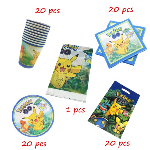 Pikaqhu 81pcs/lot Birthday Party Disposable Tableware Cup Plate Napkin Baby Shower Gift Bag Tableclo