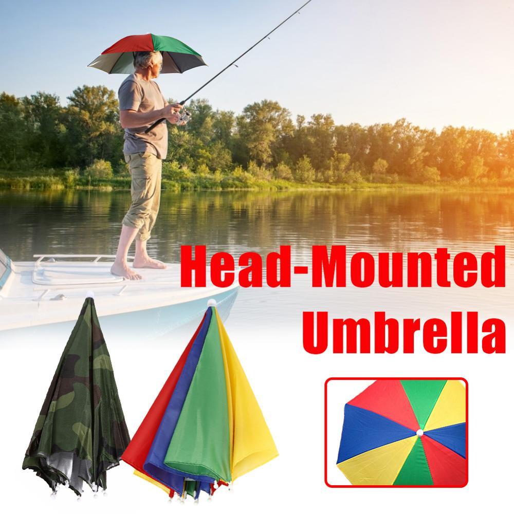 Portátil plegable cabeza sombrero paraguas Anti-lluvia Anti-UV pesca tapas viajes al aire libre de senderismo pesca playa gorros para sombrillas de lluvia