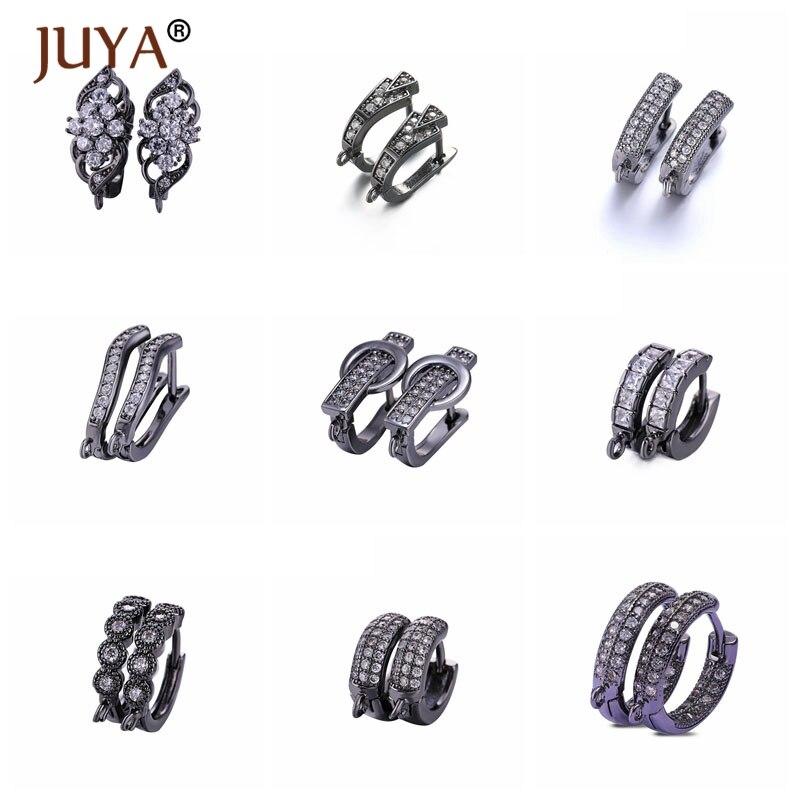 Juya Luxury Zircon Series DIY Earring Findings Handmade Earrings Clasps Hooks Fittings For Jewelry Making Accessories