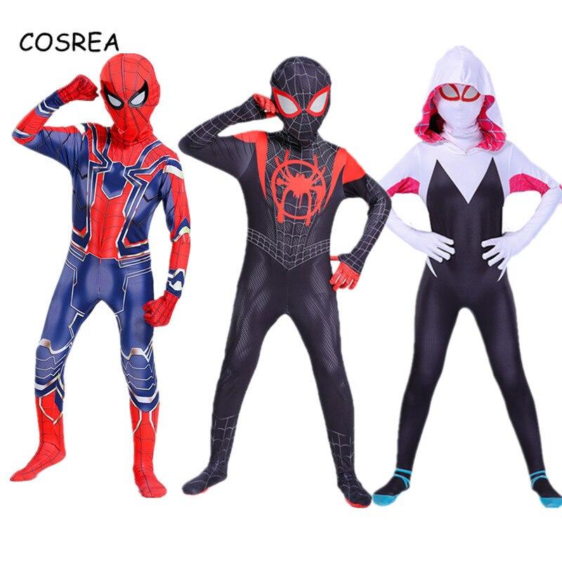 Gwen Stacy Kostüm Peter Parker Kostüm Miles Morales Kostüm Onesies Zipper Body Super Heroes Halloween