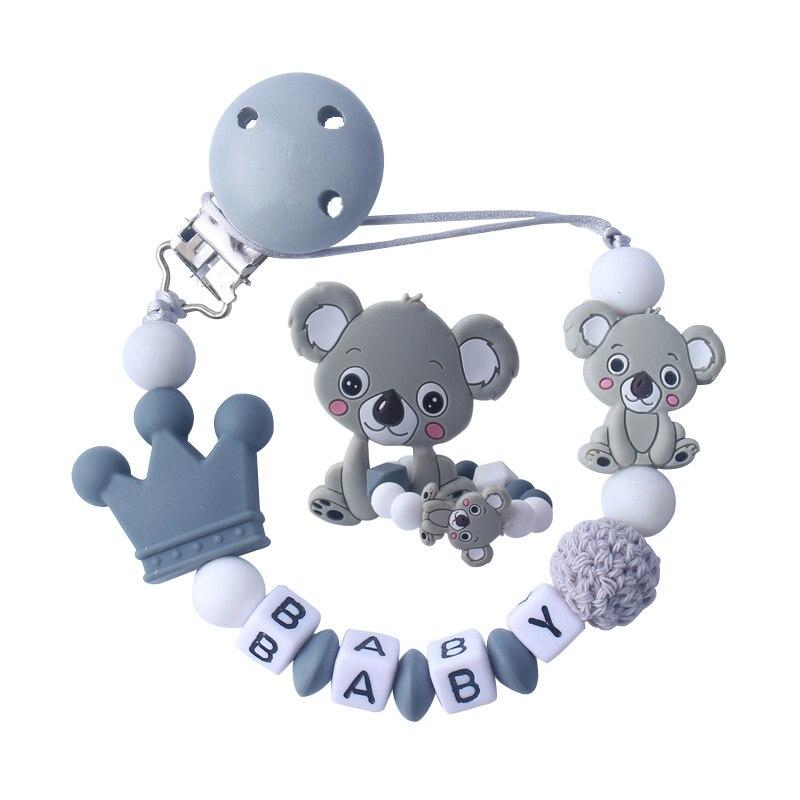 Детские силиконовые жевательные игрушки, игрушки для медсестер, коала, ожерелье для прорезывания зубов, зажим для соски с именем, сделай сам...
