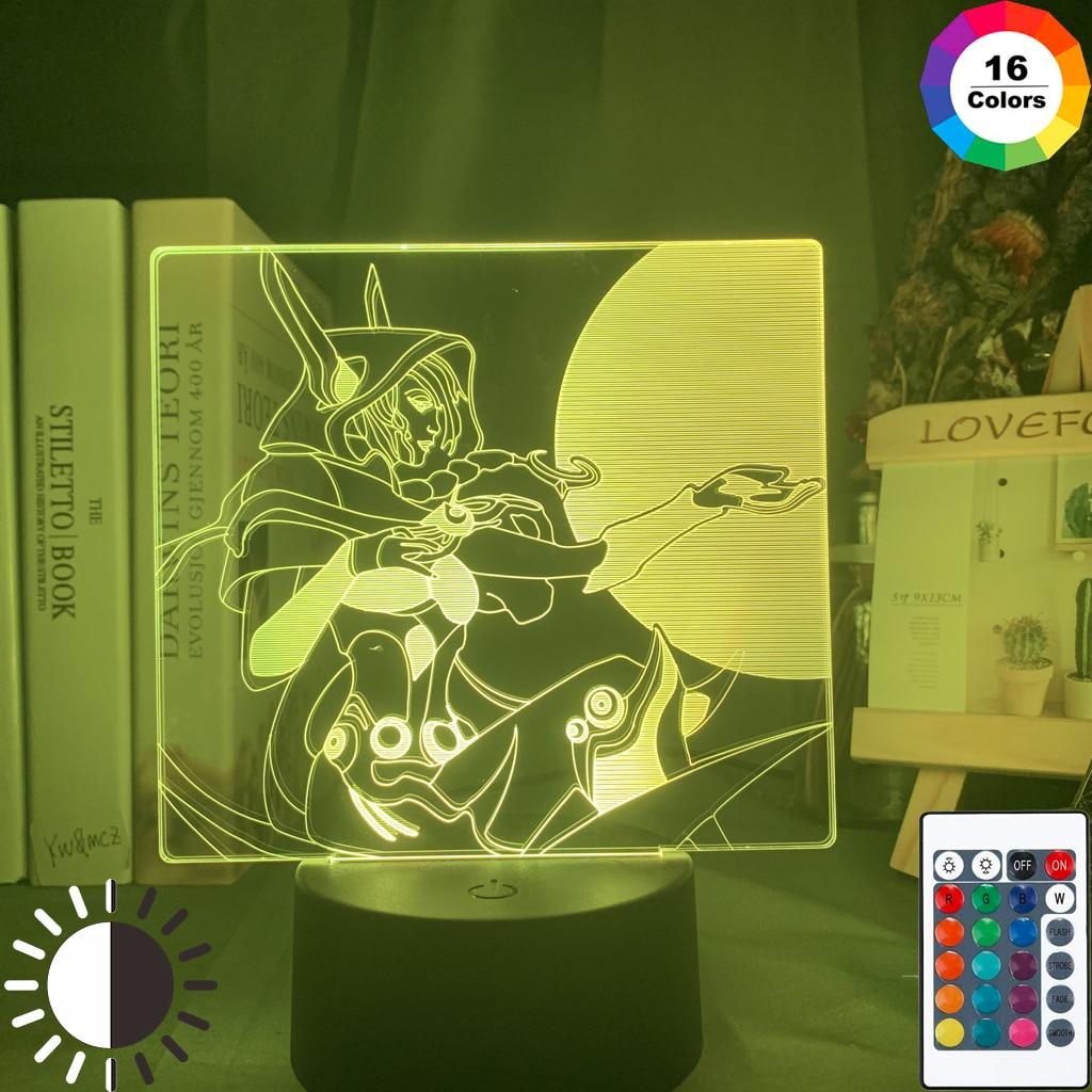 Luz Led nocturna de la Liga de Leyendas, figura Xayah, luz nocturna colorida, regalo para jugadores, juego, habitación, decoración, lámpara de mesa LOL The Rebel