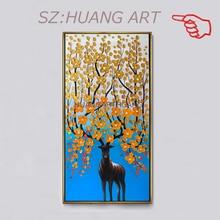 عينة جديدة من لوحة زيتية مرسومة باليد لتزيين المنزل لوحة قماشية صور شجرة ثرية للحيوانات بدون إطار