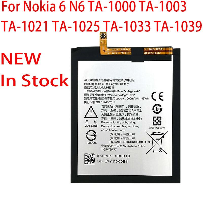 Novo original 3000mah bateria he316 para nokia 6 n6 ta-1000 ta-1003 ta-1021 ta-1025 ta-1033 ta-103 telefone em estoque