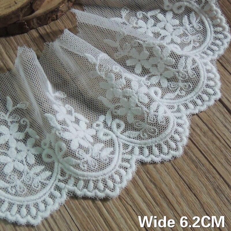 6.2CM Wide Luxury White Mesh Decorative Lace Flower Cotton Needlework Dress Guipure Applique Ribbon DIY Curtains Sewing Supplies