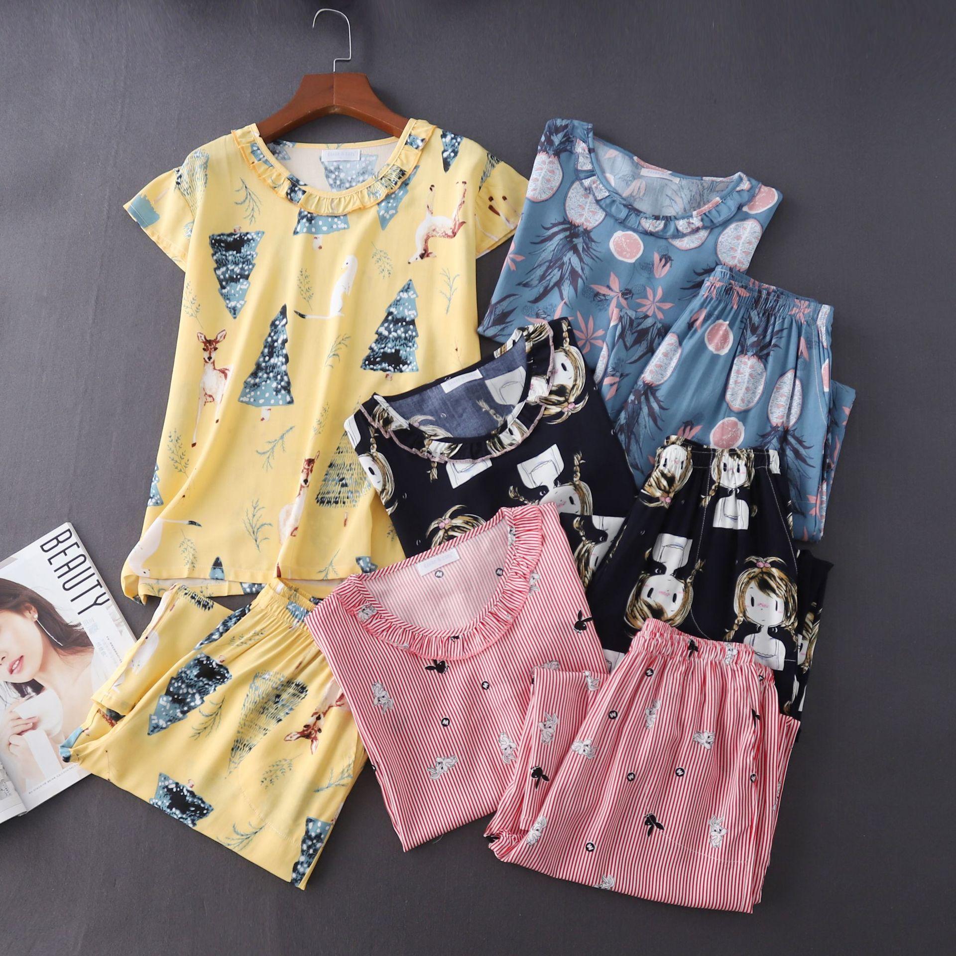 Новые пижамные комплекты с круглым вырезом и короткими рукавами, летние вискозные укороченные штаны, домашняя одежда, пижамы больших разме...