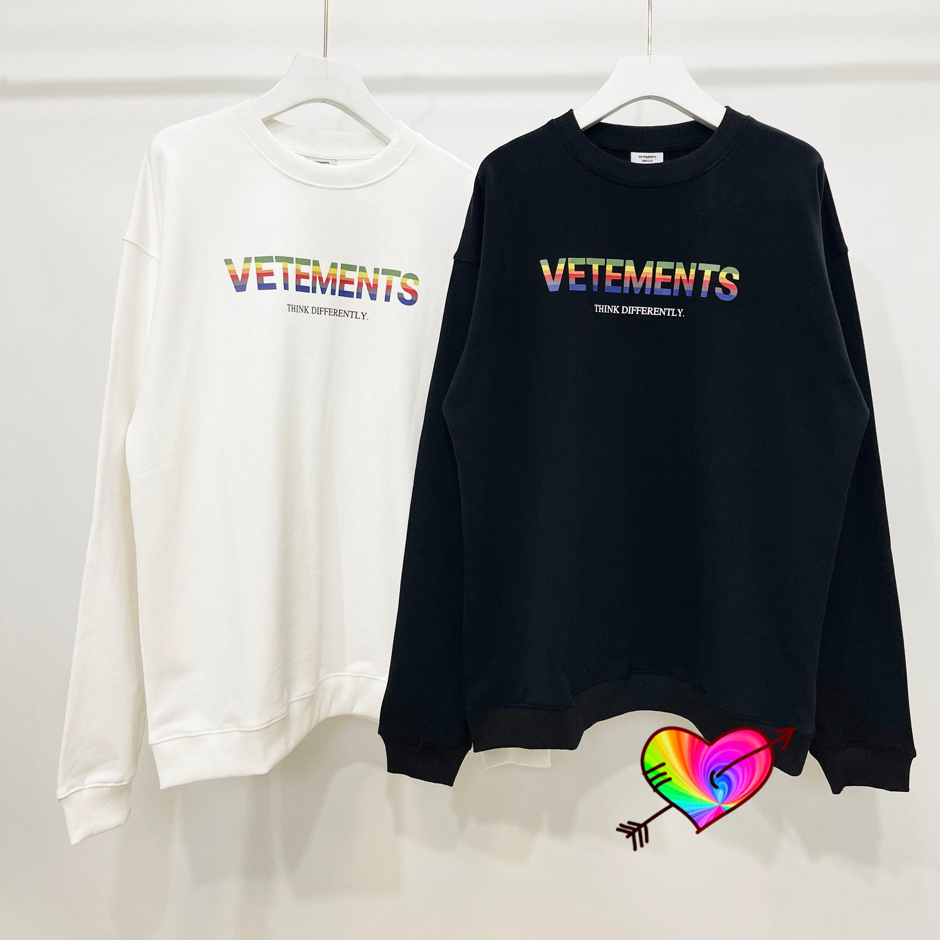 2021FW متعدد الألوان شعار فيتيمنتس البلوز الرجال النساء 1:1 شمسية عالية الجودة على شكل قوس قزح الجرافيك فيتيمنتس هوديي حجم كبير VTM طاقم الرقبة