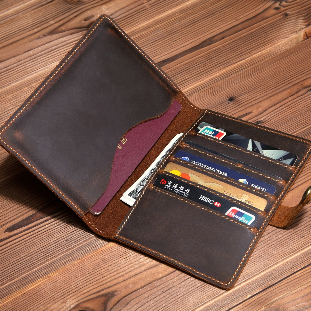 SF053 New 2020 Genuine Leather Passport wallet Vintage Cow cover Unisex Wallet Credit Card Holder Travel