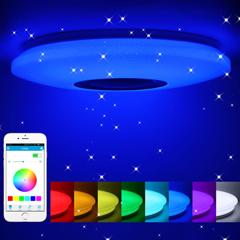 مصباح سقف Led دائري مع مكبر صوت Bluetooth ، مصباح سقف موسيقي Led 36-60W RGB مدمج ، ضوء متغير اللون مع مكبر صوت Bluetooth