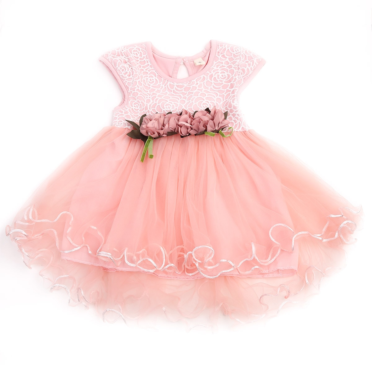 Girls Bridesmaid Dress Baby Flower Kids Party Rose Bow Wedding Princess Dresses Summer Sundress 0-3Years children flower girls dress princess kids dress with bow summer flower girls wedding party clothes kids prom gowns with necklace