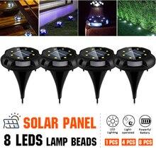 8 LEDs lumière solaire extérieur lampes solaires pour la terrasse de jardin IP67 étanche dans la lumière au sol blanc chaud/bleu lampadaires