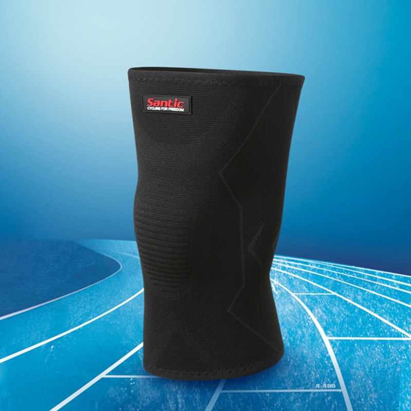 Calentadores de pierna de ciclismo SANTIC Protector de rodilla de invierno para hombres y mujeres 1 pieza de alta elasticidad de la rodilla de la bicicleta de seguridad deportiva 8C09084