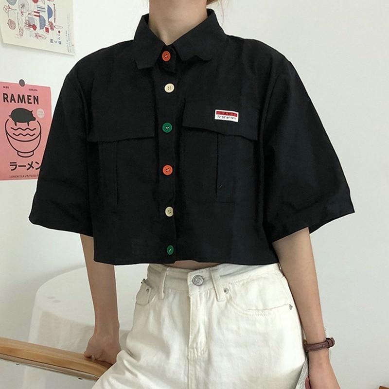 Women's Shirt Harajuku Short Sleeve Polo Collar Casual Cotton Blouse Top Girls Fashion Letter Embroidery Blusas Femininas