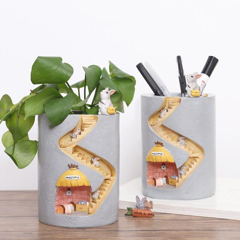 Креативный цветочный горшок из смолы в виде животного, емкость для посадки воды, кролик ежик, декоративный горшок, настольное украшение