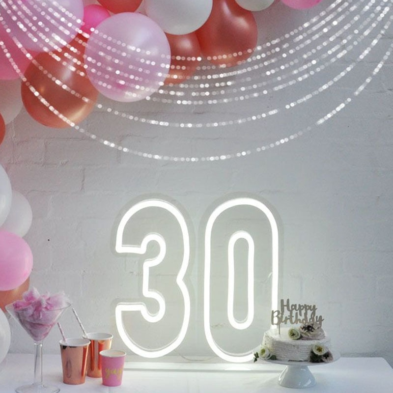 OHANEONK Custom Led 30 Thirty Happy Birthday Backdrop Neon Light Sign Decoration Home Bar Wall Bedroom Party Decorative Gift enlarge
