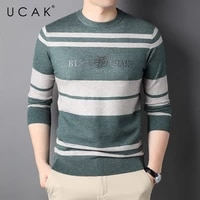 ucak brand casual sweater men clothing new arrival o neck striped streetwear sweater pull homme autumn winter pullover u1349