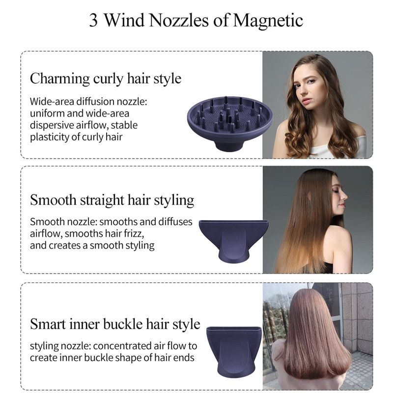 1300W Professional Negative Ionic Electric Hair Dryer Hot Cold Wind Hair Blower DC Motor Salon Blower Dryer Powerful Hairdryer enlarge
