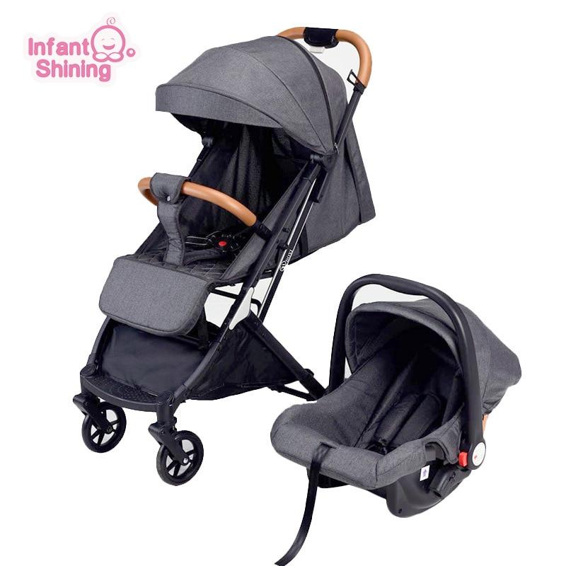 infant shining Baby Stroller 3 in 1 with Car Seat Multi-functional Lightweight High Landscape Newborn Pram for Newborn Baby