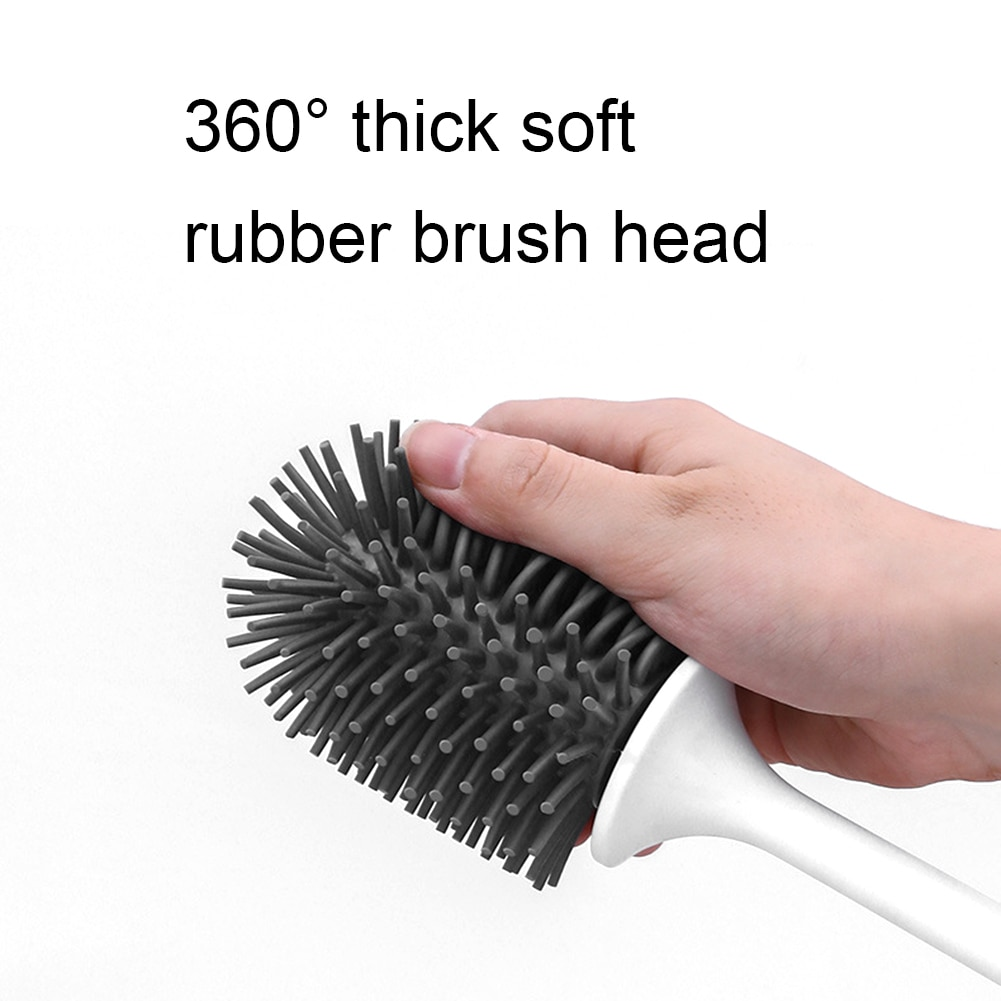 Silicone Toilet Brush Soft Bristle Wall-mounted Bathroom Toilet Brush Holder Set Clean Tool Durable ThermoPlastic Rubber enlarge