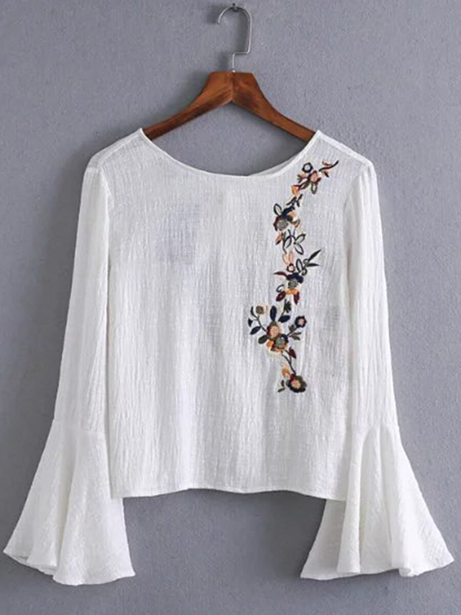 white floral print self tie wrap blouse Japan Korea Floral Blouse O-neck Print Long Flare Sleeve Pullover White 2021 Summer Embroidery Fashion Slim Blouse
