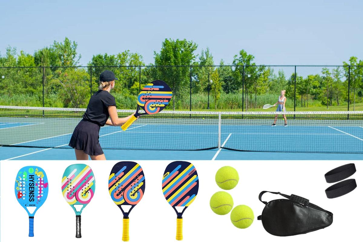 TOP Professional Carbon Beach Tennis Paddle Racket Soft EVA Face Pickleball Raqueta with Bag for Adult Tennis Racquet Equipment