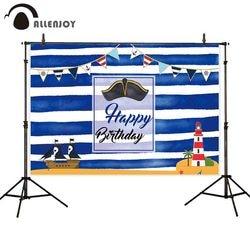 Allenjoy azul listra branca photobooth navio pirata farol bandeiras chapéu ilhas dos desenhos animados festa cortinas feliz aniversário backdrops
